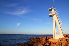 Baywatch white lookout tower in Mediterranean Royalty Free Stock Photo