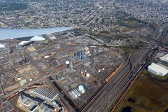 Bayway Refinery in Elizabeth, New Jersey, USA. Bayway Refinery in Elizabeth City, New Jersey, USA stock photos