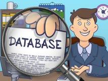 Baza danych przez Powiększać - szkło Doodle projekt ilustracja wektor