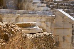 Baza kolumny zakończenie up przy Romańskim amphitheatre zdjęcie royalty free