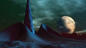 Baza obcy i duża księżyc royalty ilustracja