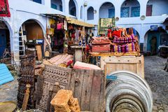 Bazaar in the alley, Chefchaouen, Morocco Royalty Free Stock Image