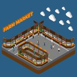 Bazaar Farm Market Composition. Farm local market isometric composition with 3d text clouds and modern urban food market with people vector illustration Royalty Free Stock Photo