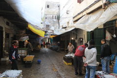 Bazaar in the medina in Tetouan, city in Morocco / North Africa, building by sunset Royalty Free Stock Photography