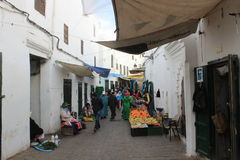 Bazaar in the medina in Tetouan, city in Morocco / North Africa, building by sunset Royalty Free Stock Photo