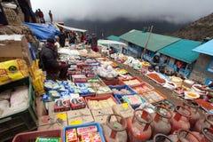 Bazaar in Namche Bazar village Royalty Free Stock Photos