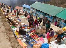 Bazaar in Namche Bazar village Royalty Free Stock Photo