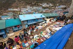 Bazaar in Namche Bazar village Royalty Free Stock Photography
