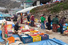 Bazaar in Namche Bazar village Royalty Free Stock Images
