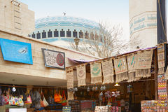 Bazaar near King Abdullah I mosque in Jordan Royalty Free Stock Photos