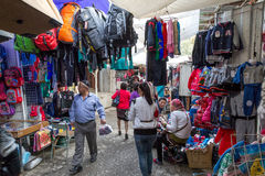 Bazaar in Osh, Kyrgyzstan. Osh, Kyrgyzstan - October 05, 2014 People shopping inside the bazaar Stock Photos