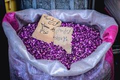 Bazaar in Tehran. Tehran, Iran - October 16, 2016: Rose petals on Grand Bazaar in Tehran city stock photo
