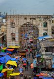 Bazaars of Hyderabad. A bird& x27;s eye view of the bazaars of Hyderabad surrounding the iconic Charminar Royalty Free Stock Photography