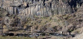 Bazaltowa kolumny panorama Garni wąwóz, Armenia obraz stock