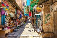 Bazar antico in vecchia città di Gerusalemme Fotografia Stock