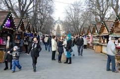Bazar de la Navidad y del Año Nuevo en el centro de Lvov Fotografía de archivo