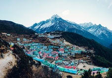Bazar de Namche en Nepal Imagenes de archivo