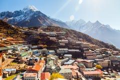Bazar de Namche, Himalaya, Nepal Imágenes de archivo libres de regalías