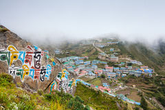 Bazar di Namche - più grande villaggio in valle di Khumbu, Nepal Fotografia Stock Libera da Diritti