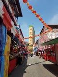 Bazar festivo chinês da rua do ano novo no bairro chinês, Singapura Fotos de Stock