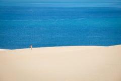 走在Bazaruto海岛上的白色沙丘的女孩 免版税图库摄影