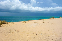 Bazaruto sand dunes and stormy in Mozambique Royalty Free Stock Image