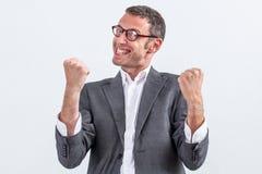 Bazige zakenman die met kinetisch gedrag frustratie uitdrukken Royalty-vrije Stock Fotografie