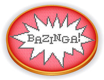 Bazinga Cross Stitch Embroidery, Wood Sewing Hoop. Retro wood embroidery sewing hoop with fun cross stitch needlework design sampler, Bazinga! in explosion frame Stock Photo
