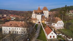 Bazna fortified church. The fortified saxon church of Bazna. Transylvania Romania royalty free stock photo