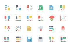 Bazy danych i serweru Barwione Wektorowe ikony 5 Obraz Royalty Free