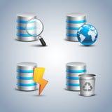 Bazy danych ikona ustawiająca - 3 Obraz Stock