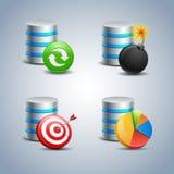 Bazy danych ikona ustawiająca - 7 Zdjęcie Stock