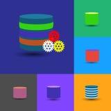 Bazy danych ikony kolekcja, to także reprezentuje dane magazyn, płatowata baza danych Fotografia Stock
