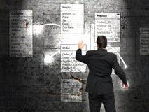 Bazy danych tło z biznesmenem Obraz Stock