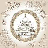 Bazylika Święty serce Paryż, Francja. Obrazek Basilique Du sacré-Cœur. Scrapbooking ręki rysunkowy zestaw. Fotografia Stock