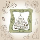 Bazylika Święty serce Paryż, Francja. Obrazek Basilique Du sacré-Cœur. Scrapbooking ręki rysunkowy zestaw. Obrazy Royalty Free
