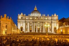 Bazylika Di San Pietro w wieczór, Watykan, Rzym, Włochy Obrazy Stock