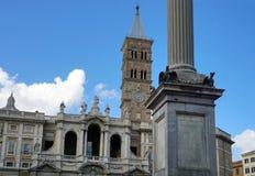 Bazylika Santa Maria Maggiore i szpaltowy della Przemierza Zdjęcia Royalty Free