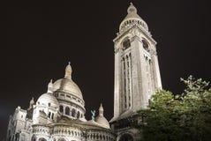 Bazylika w Montmartre przy nocą, Paryż Zdjęcie Stock
