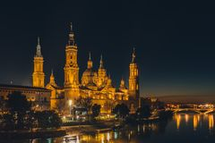 Bazyliki De Nuestra señora del Pilar katedra w Zaragoza, Hiszpania fotografia royalty free