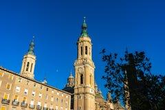 Bazyliki De Nuestra señora del Pilar katedra w Zaragoza, Hiszpania zdjęcia stock