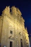 Bazyliki katedra St Agat Gallipoli nocą Obraz Stock