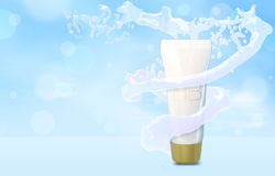 BB cream bottle mock up in water splash on blue bokeh background Foundation tube in water tornado 3D illustration Stock Images