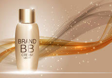 BB Cream Bottle Template for Ads or Magazine Background. 3D Real Royalty Free Stock Photo