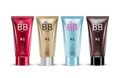 BB cream in different color of packages. B.B. cream in different color of packages. Vector illustration of realistic packages of makeup foundation tubes Stock Photos