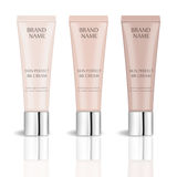 BB cream realistic package set with different shades, isolated on white background. 3d tube mock-up product cosmetics Royalty Free Stock Photo