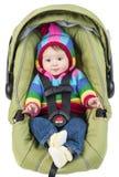 Bébé dans le siège de véhicule Images libres de droits