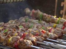 Bb do verão do shashlyk dos kebabs da carne Fotos de Stock