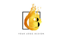 BB Gold Letter Logo Painted Brush Texture Strokes. Stock Photography