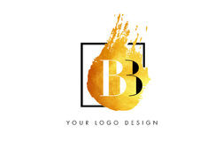 BB Gold Letter Logo Painted Brush Texture Strokes. Stock Photo